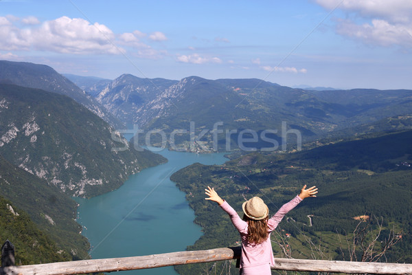 happy little girl with hands up on mountain viewpoint Stock photo © goce