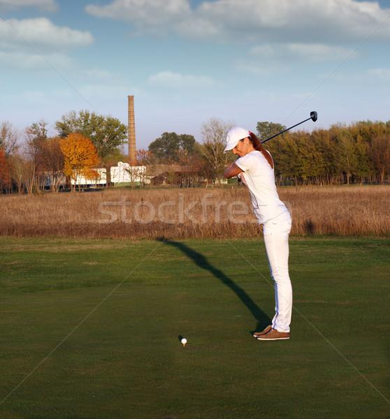 Menina jogador de golfe grama beleza feminino branco Foto stock © goce
