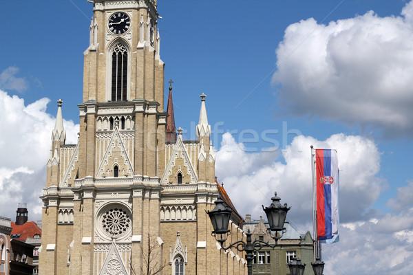 Cattolico chiesa triste Serbia costruzione clock Foto d'archivio © goce