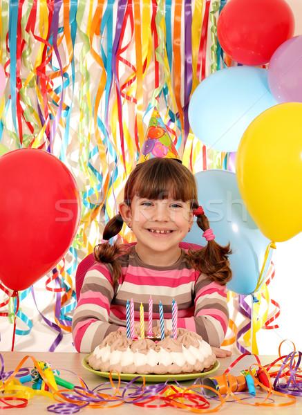 счастливым девочку именинный торт улыбка вечеринка детей Сток-фото © goce