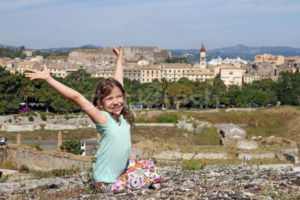 happy little girl on old fortress Corfu town Greece Stock photo © goce