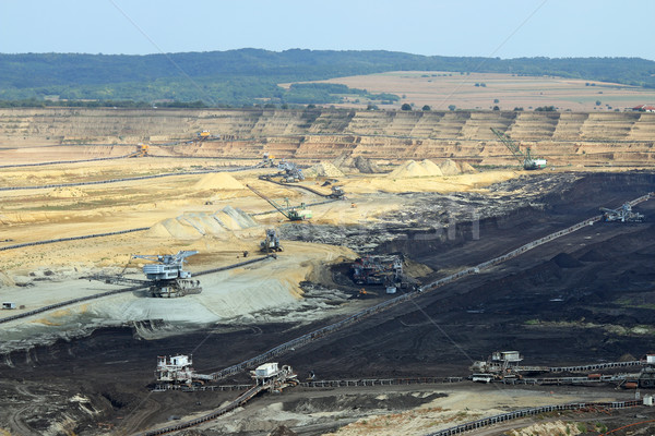 Stock photo: excavators and heavy machinery open pit coal mine Kostolac Serbi