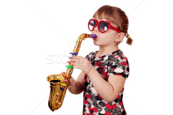 女の子 再生 サクソフォン 白 音楽 幸せ ストックフォト © goce