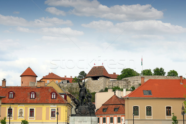 Dobo Istvan monument and fortress Eger Hungary Stock photo © goce