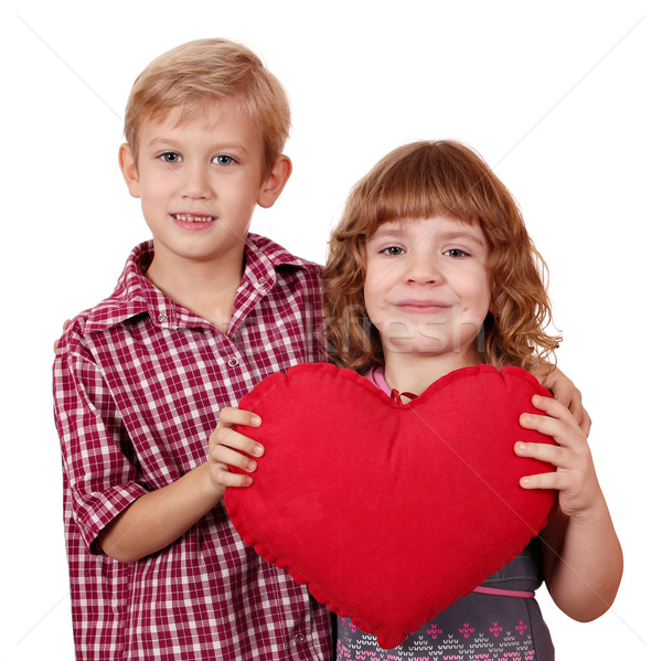 little girl and boy posing with red heart Stock photo © goce