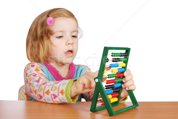 little girl learn to count Stock photo © goce