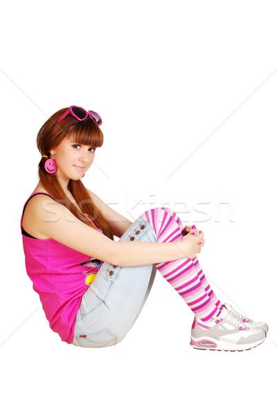 Сток-фото: сидят · женщину · девушки · красоту · молодые