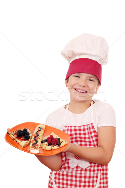 Feliz little girl cozinhar menina criança fruto Foto stock © goce
