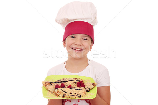 happy little girl cook with sweet crepes Stock photo © goce