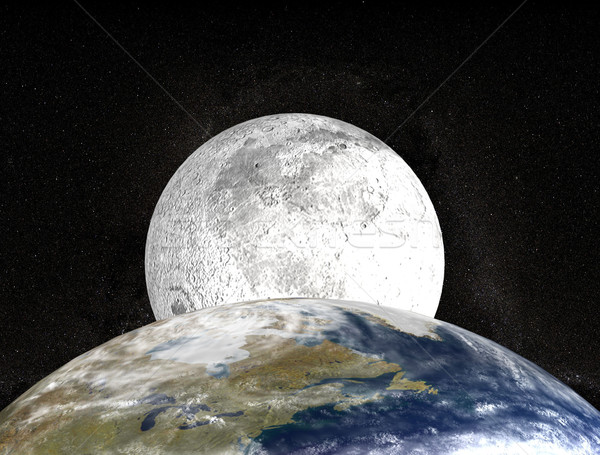 moon behind planet earth Stock photo © goce