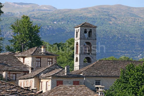 Oude steen dorp huis landschap berg Stockfoto © goce