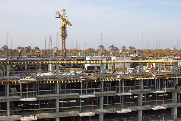 new building construction site with workers and crane Stock photo © goce