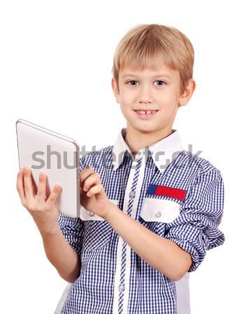Menino telefone criança móvel falante Foto stock © goce