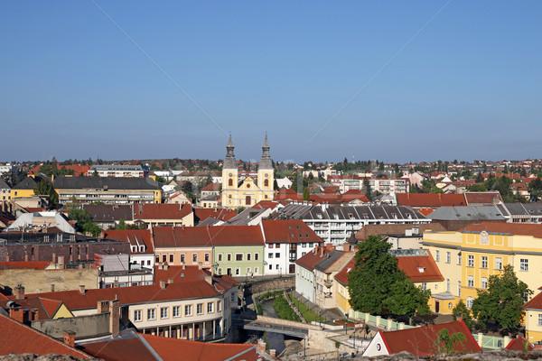 Velho edifícios igreja cityscape Hungria céu Foto stock © goce