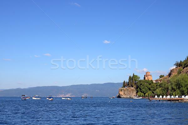 Templom tájkép épület természet utazás tó Stock fotó © goce