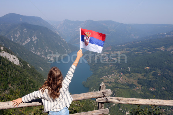 little girl with a Serbian flag on the viewpoint Banjska stena T Stock photo © goce
