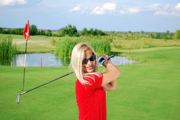 Menina jogador de golfe retrato céu sorrir golfe Foto stock © goce