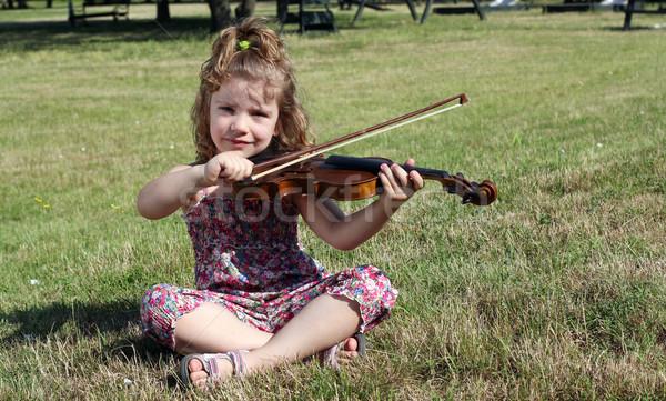 女の子 座って 草 再生 バイオリン 笑顔 ストックフォト © goce