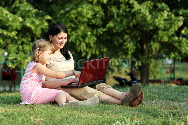child and girl with laptop in park Stock photo © goce