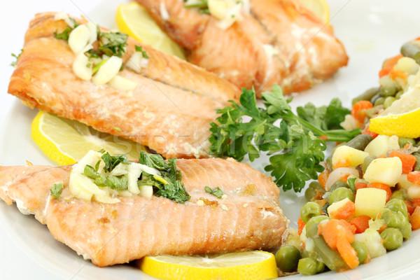 морепродуктов лосося лимона овощей рыбы обеда Сток-фото © goce