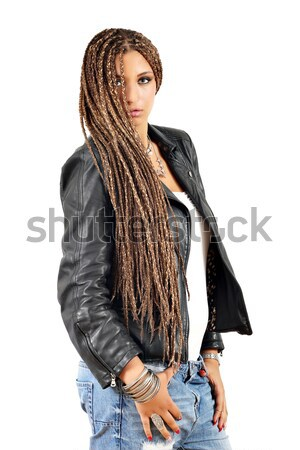 beautiful girl with dreadlocks hair and leather jacket posing Stock photo © goce