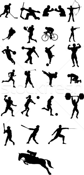 sport icons and silhouette Stock photo © goce
