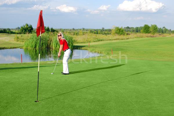 beauty girl play golf Stock photo © goce