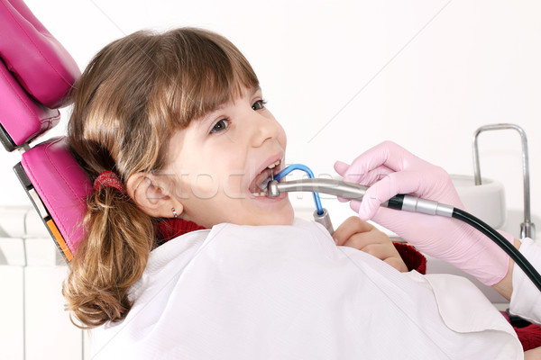 little girl with open mouth during drilling treatment at the den Stock photo © goce