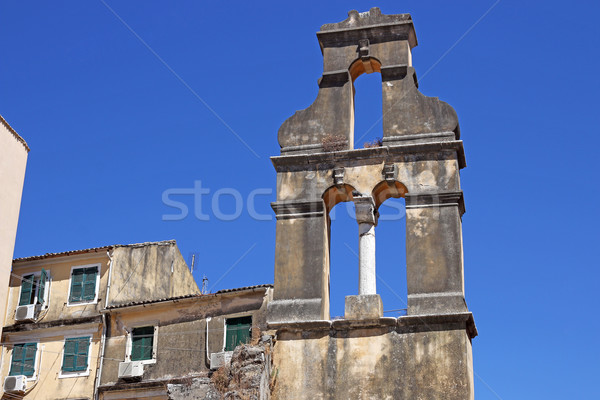 ruined church bell tower Corfu town Stock photo © goce