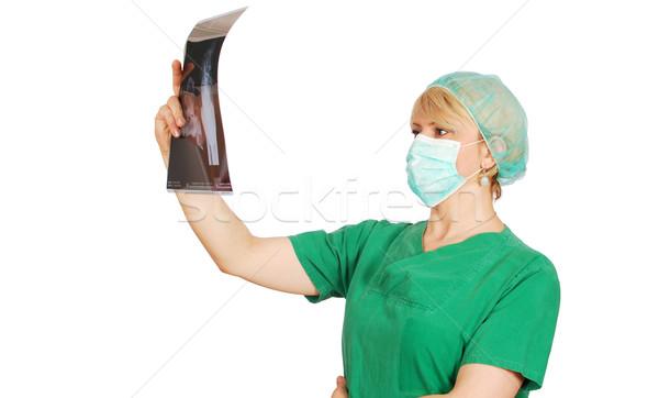 Radyolog kadın doktor maske kadın yeşil Stok fotoğraf © goce