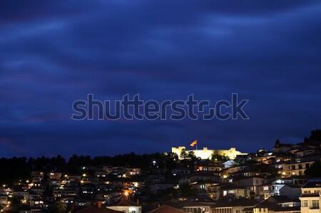 Miasta twierdza noc wody charakter górskich Zdjęcia stock © goce