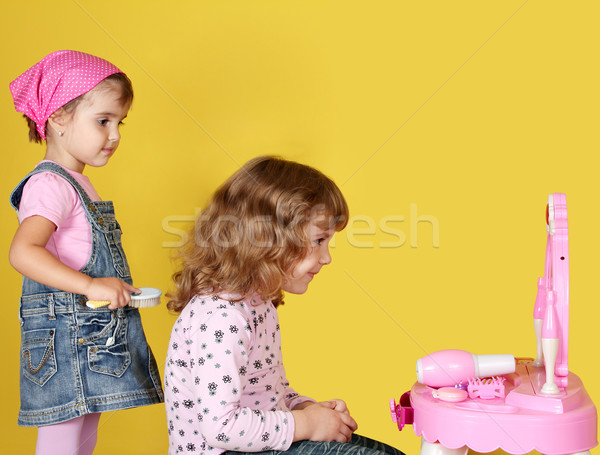 little girls are combing Stock photo © goce