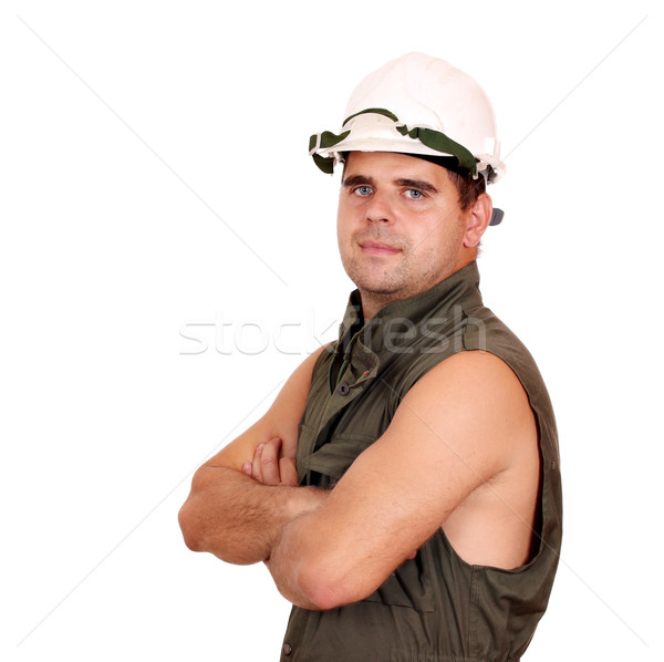 oil worker posing on white Stock photo © goce