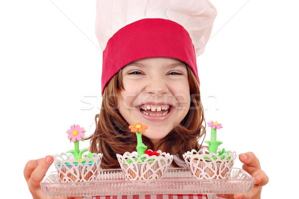 Stock fotó: Boldog · kislány · szakács · díszített · édes · muffinok