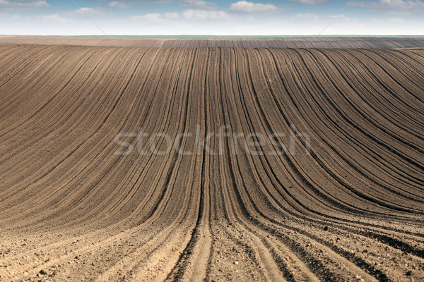 plowed field  country landscape spring season  Stock photo © goce