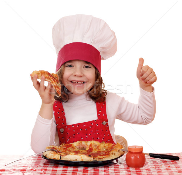 happy little girl cook eat pizza Stock photo © goce