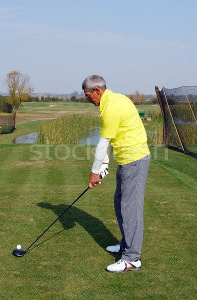 senior golf player ready for hit Stock photo © goce
