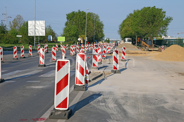 road construction roadwork signs on street Stock photo © goce