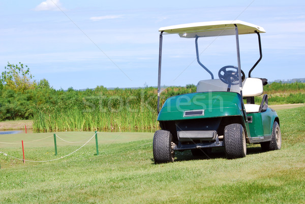 golf buggy on green grass field Stock photo © goce