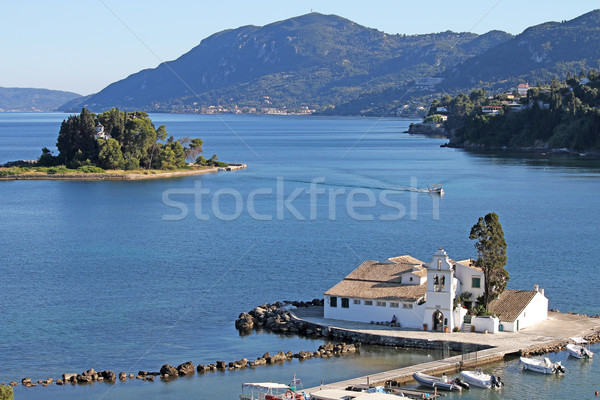 Klasztor wyspa Grecja wody morza kościoła Zdjęcia stock © goce
