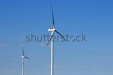 Szélturbinák erő energia ipar égbolt technológia Stock fotó © goce