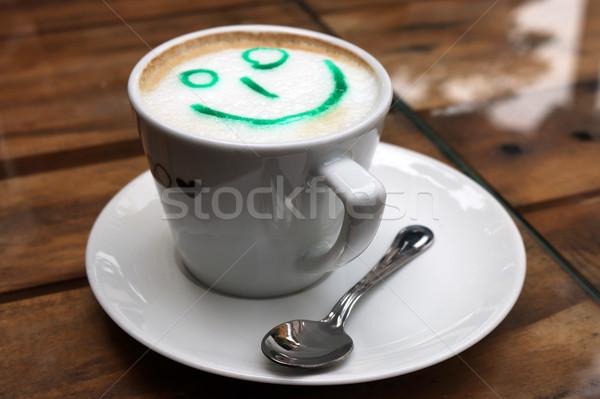 コーヒー スマイリー 芸術 表 ミルク 朝食 ストックフォト © goce