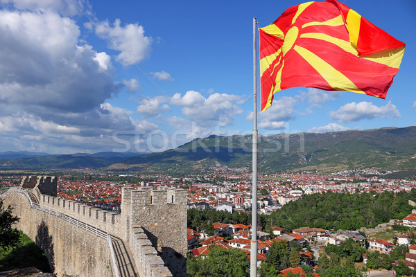 The Macedonian flag on the Samuel fortress Ohrid Macedonia Stock photo © goce