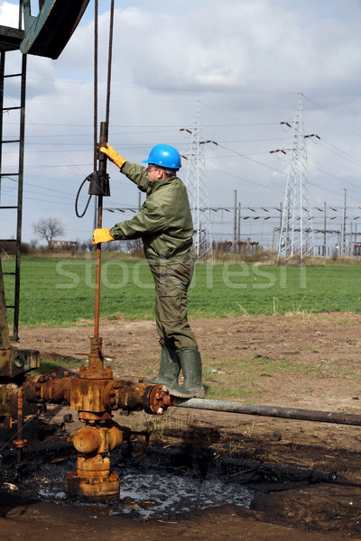 oil worker check oil pump Stock photo © goce