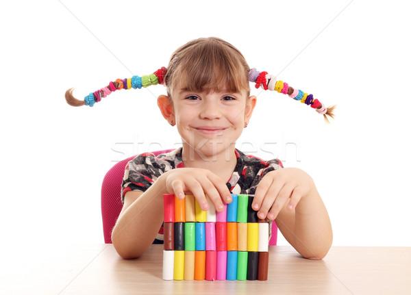 beautiful little girl play with plasticine Stock photo © goce