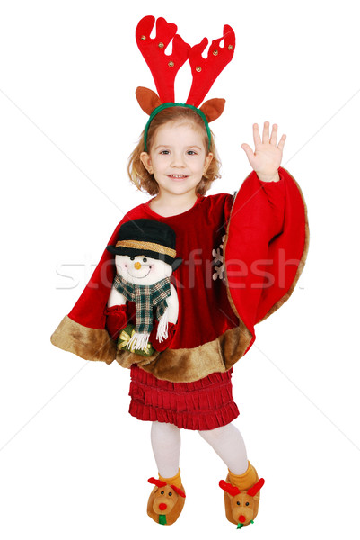 Christmas little girl with horn on head and snowman on dress greeting  Stock photo © goce
