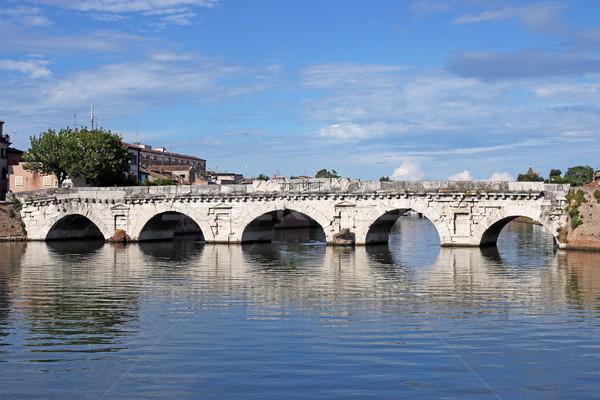 old stone Tiberius bridge landmark Rimini Italy Stock photo © goce