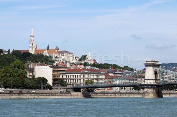 łańcucha most rybaka Budapeszt Cityscape Zdjęcia stock © goce