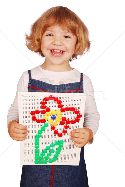happy little girl make flower with mosaic toy Stock photo © goce