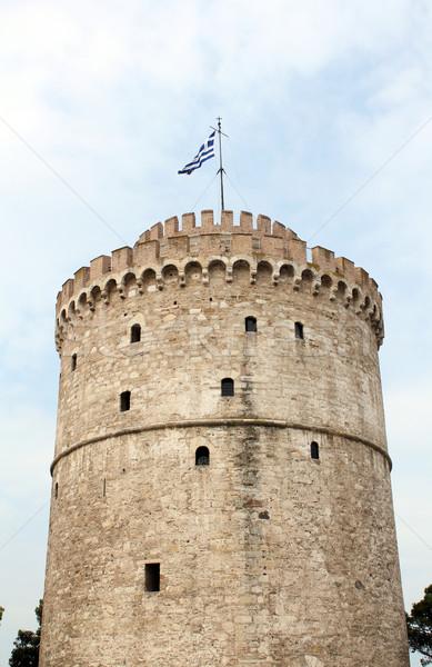 белый башни известный Салоники ориентир здании Сток-фото © goce